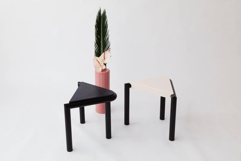 Originating from a tongue-in-cheek, literal rendering of seated legs, Troika stool or side table from Brooklyn design studio Vonnegut Kraft elegantly transforms with each new angle, offering a surprisingly complex formalism that draws inspiration in