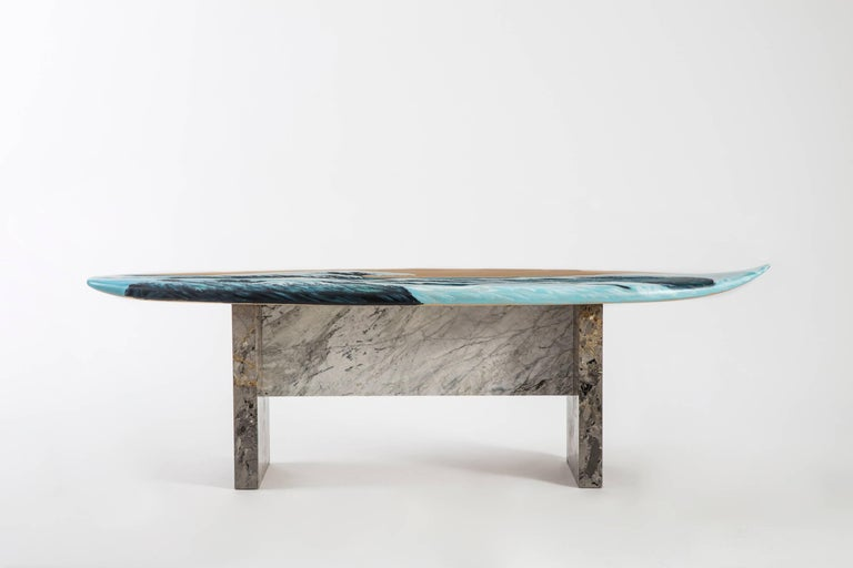 Modern Motus Surfboard Bench in Marble and Painted Oak by Merve Kahraman For Sale