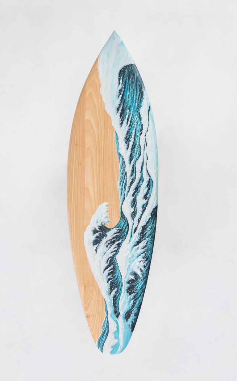 American Motus Surfboard Bench in Marble and Painted Oak by Merve Kahraman For Sale