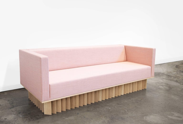 Modern Angled Wood Bar Sofa in Oak and Pink Kvadrat Upholstery by Early Work For Sale