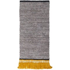 Grey and Gold Handmade Crochet Cotton and Polyester Thick Luxurious Textile Rug