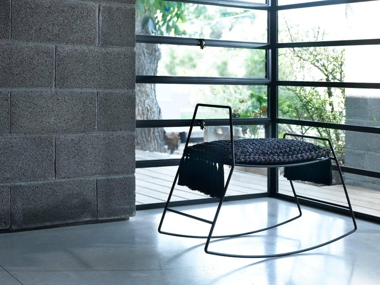 Contemporary Matte Black Iron Handmade Textile Rocking Horse Stool with Cushion Seat For Sale