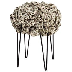 Handmade Crochet Elements Cotton and Polyester Cream Iota Pouf Stool