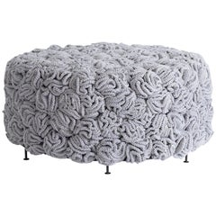 Light Grey Gold Pouf, Handmade Crochet elements in Cotton & Polyester