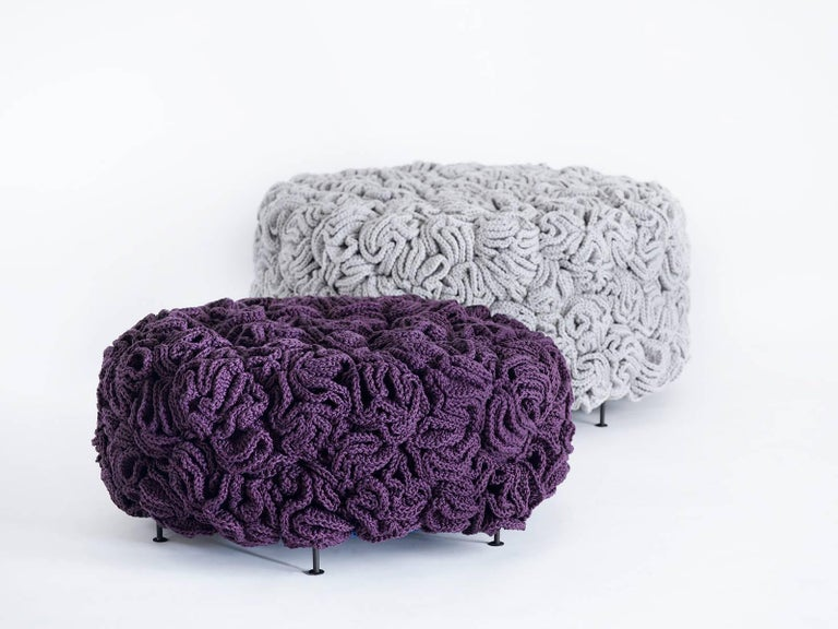 Israeli Light Grey Gold Pouf, Handmade Crochet elements in Cotton & Polyester