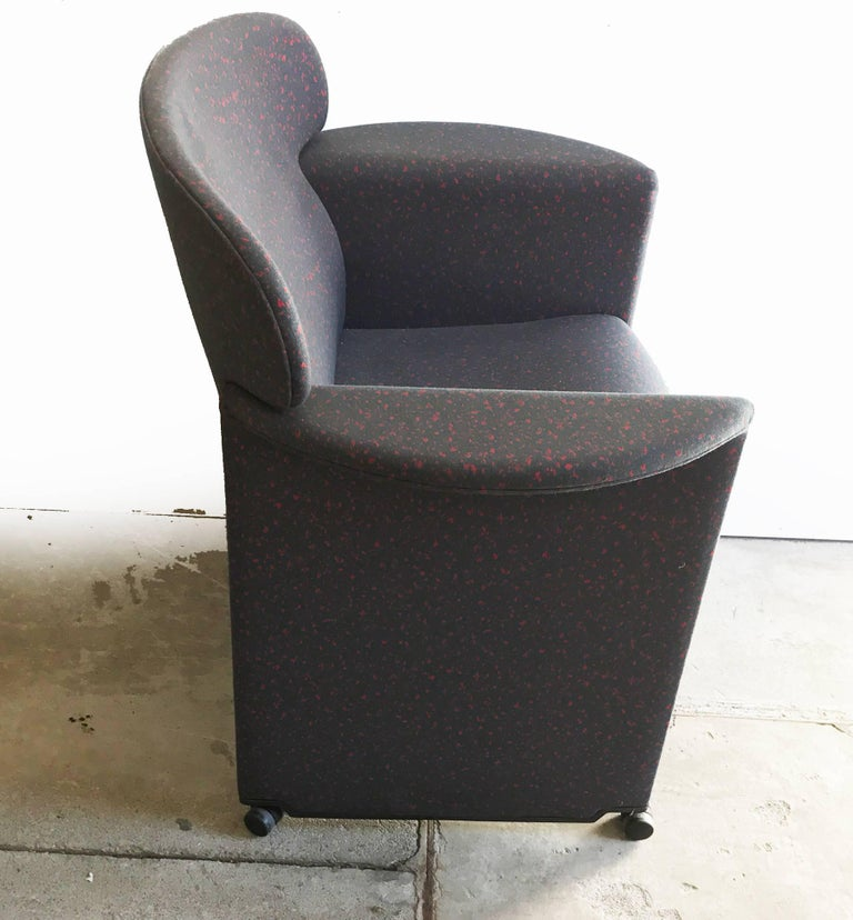 Post-Modern Memphis Style Armchair, Fabric Upholsterd, Italy 1980s. For Sale