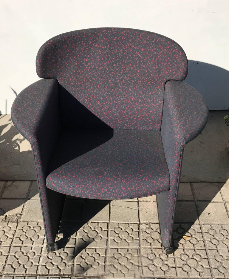 Late 20th Century Memphis Style Armchair, Fabric Upholsterd, Italy 1980s. For Sale