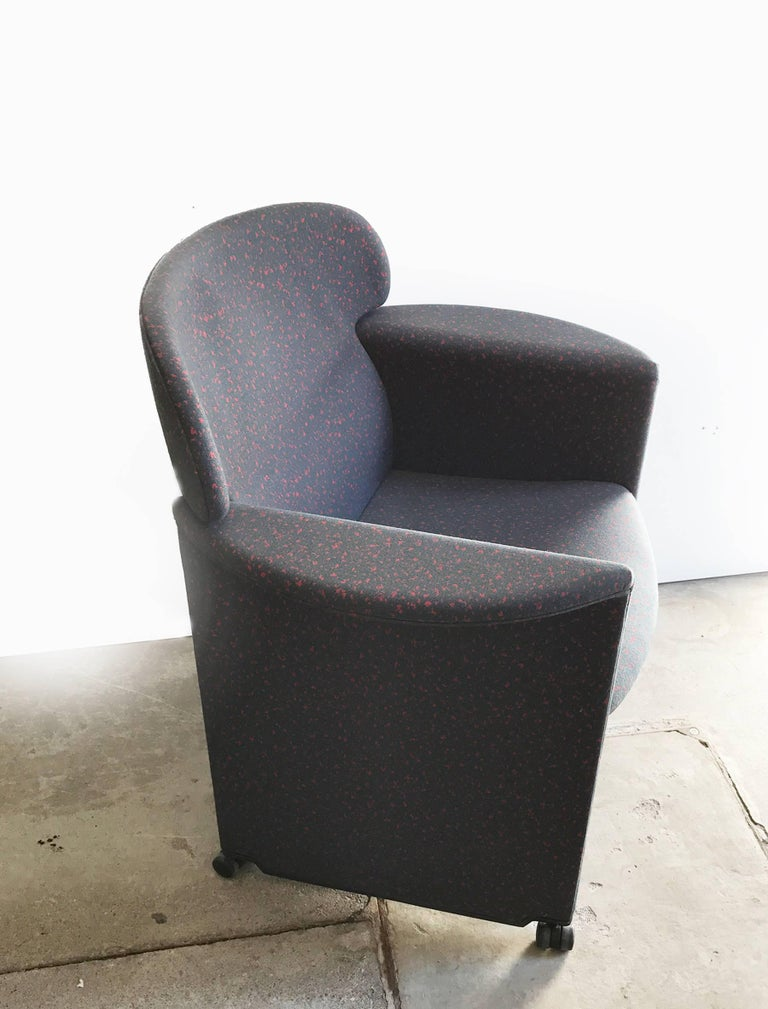 Italian Memphis Style Armchair, Fabric Upholsterd, Italy 1980s. For Sale