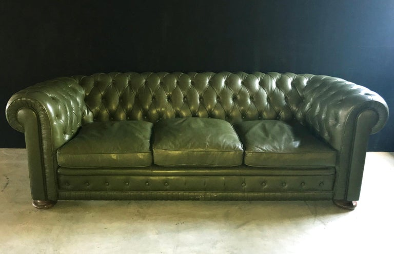 Spanish Green Leather Chesterfield Sofa 1970s For