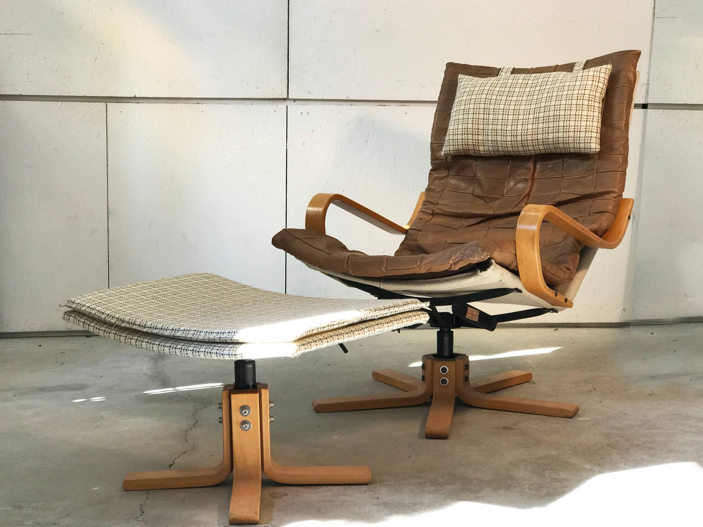 Scandinavian Modern Solid Birch And Leather Danish Armchair With Ottoman  From Kebe, 1970s For Sale