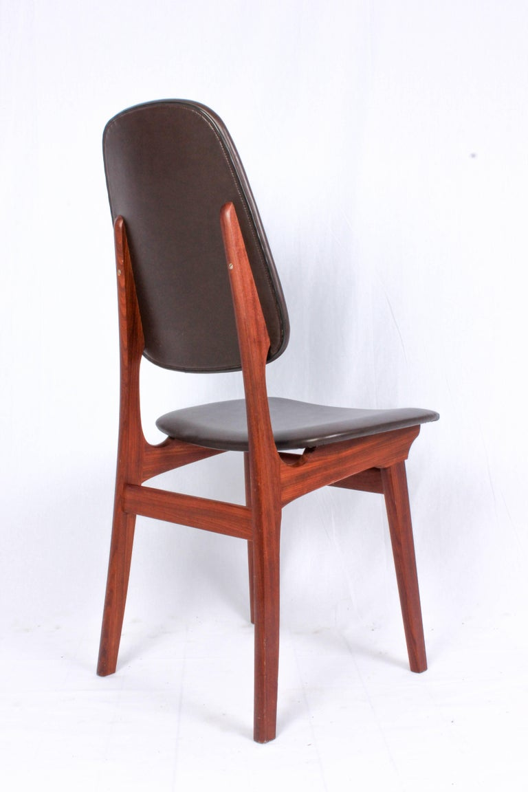 Faux Leather Midcentury Norwegian Dining Chairs by Brødrene Sørheim For Sale