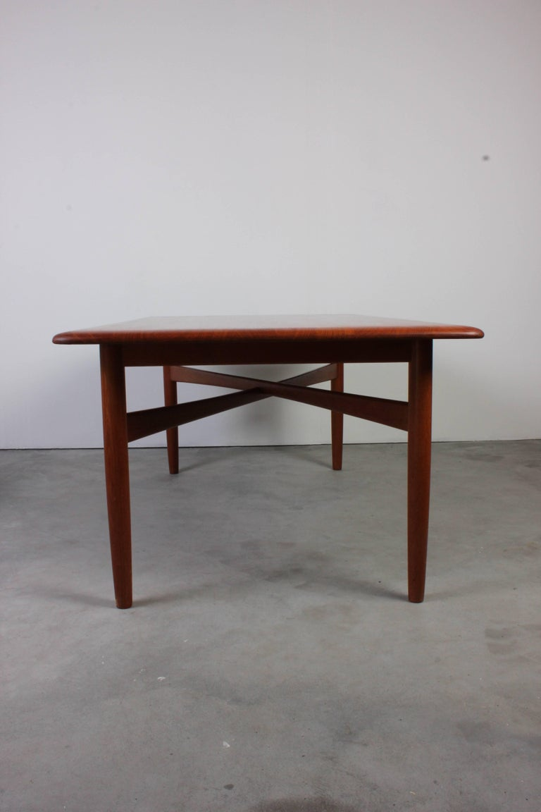 Mid-Century Modern Danish Midcentury Solid Teak Coffee Table with Crossed Legs For Sale