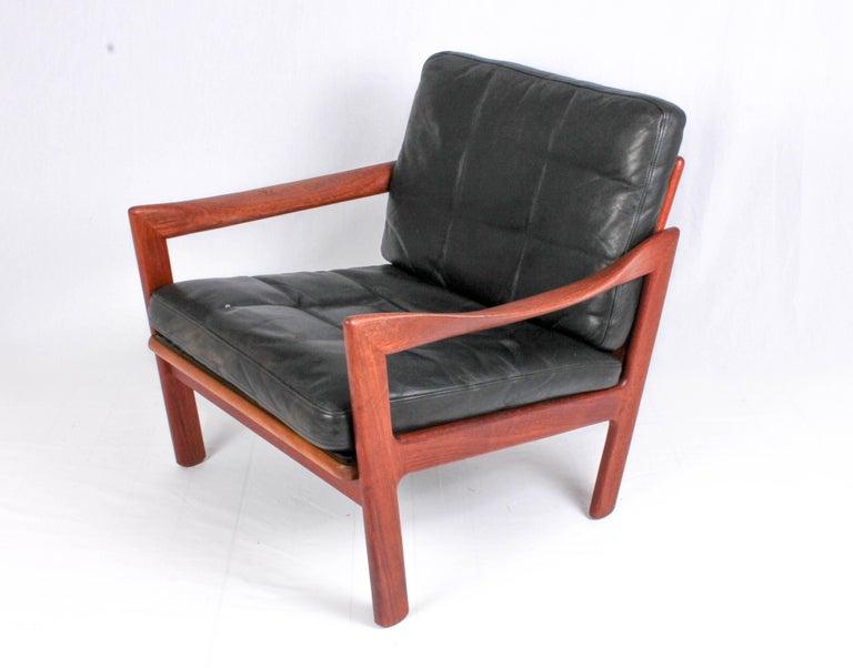 Scandinavian Modern Illum Wikkelsø Midcentury Teak and Leather Lounge Chair for Niels Eilersen For Sale