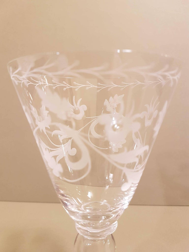 A magnificent set of six wine glasses. Blown Murano glass, hand engraved. Very light and precious.  NasonMoretti , founded in 1923 , has been one of the leading company in the field of the tables since the early 50s. Pieces by NasonMoretti can be