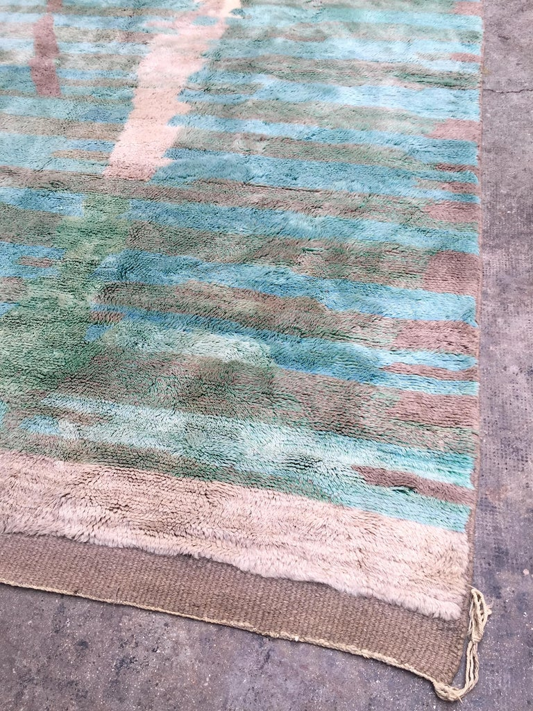 Tribal Moroccan Berber Rug, Middle Atlas Carpet, Green Blue and Grey Wool, Contemporary For Sale