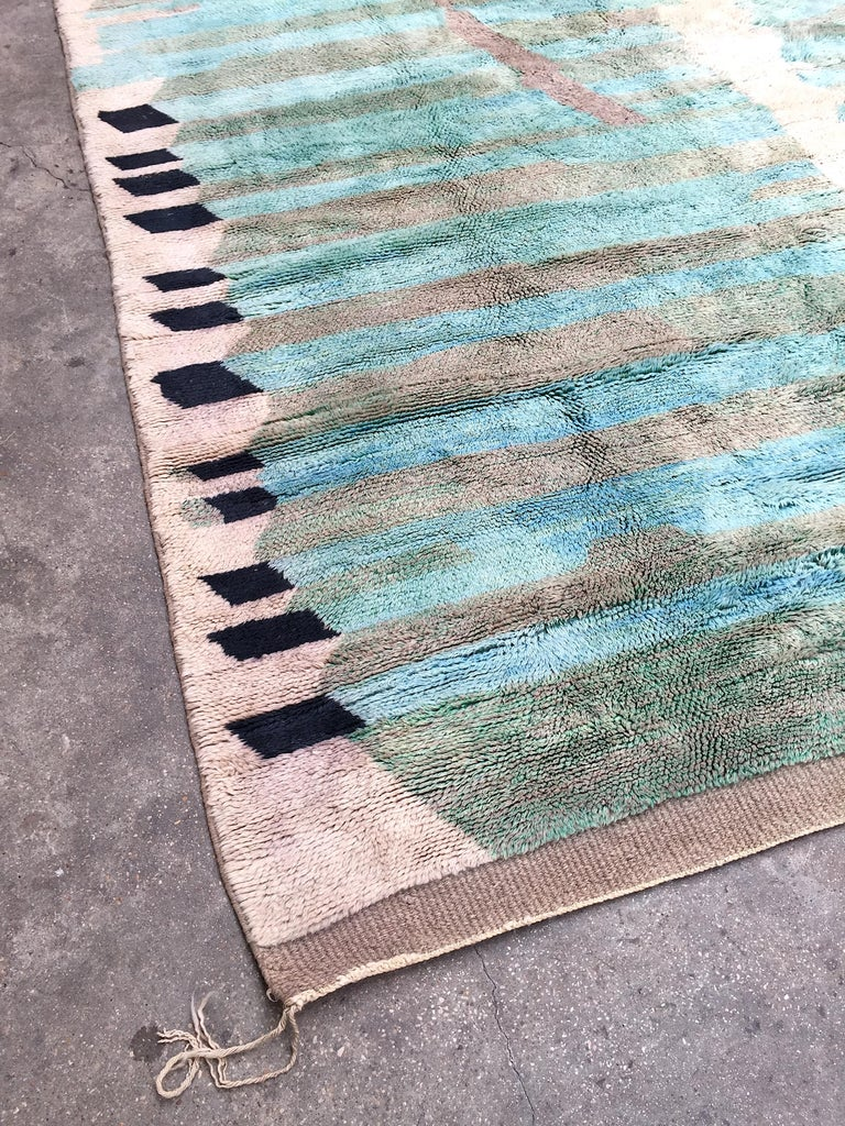 Hand-Knotted Moroccan Berber Rug, Middle Atlas Carpet, Green Blue and Grey Wool, Contemporary For Sale