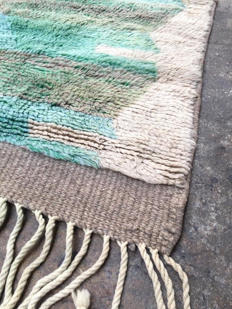 Moroccan Berber Rug, Middle Atlas Carpet, Green Blue and Grey Wool, Contemporary For Sale 3