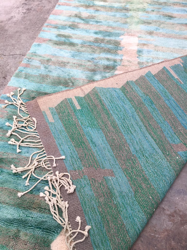 Moroccan Berber Rug, Middle Atlas Carpet, Green Blue and Grey Wool, Contemporary For Sale 4