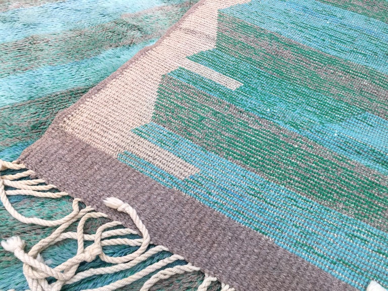 Moroccan Berber Rug, Middle Atlas Carpet, Green Blue and Grey Wool, Contemporary For Sale 5