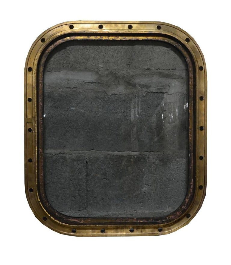 Original bronze rectangular ship's porthole. The glass has been changed with a new perfect tempered glass.
