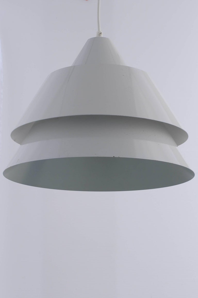 Metal lamp designed and manufactured in Denmark in 1969 Designer Jo Hammerborg for Lyfa. The color of the lamp is bright gray. The lamp is after maintenance, cleaned. The electric cable is new.