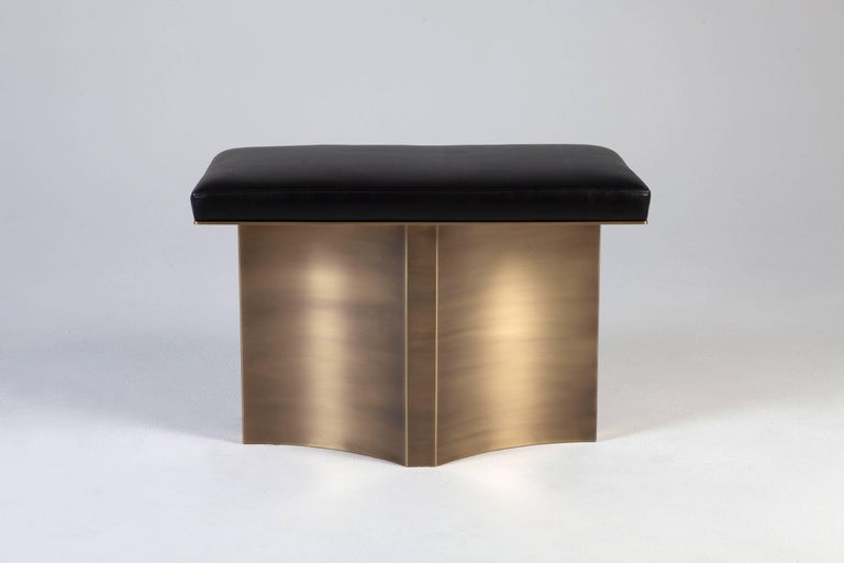 V Brass Bench by Soraya Osorio In New Condition For Sale In Clinton Corners, NY