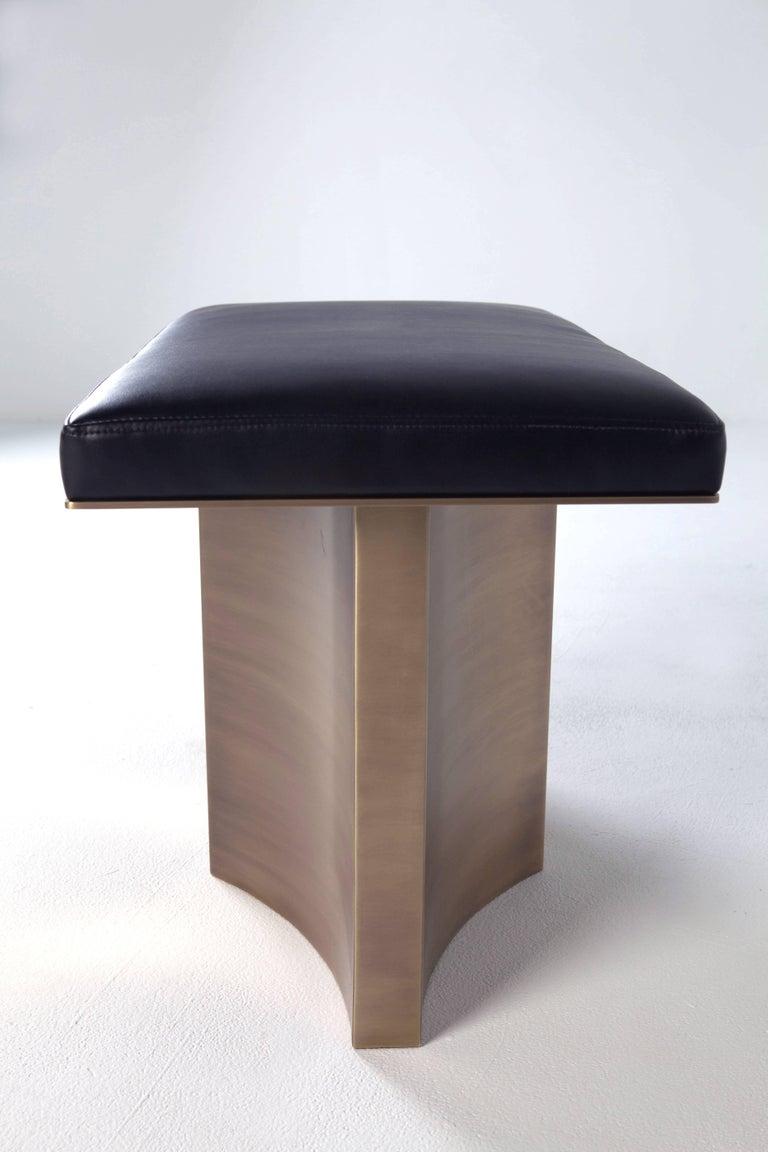 Contemporary V Brass Bench by Soraya Osorio For Sale