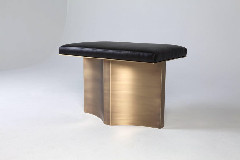 Hand-Crafted V Brass Bench by Soraya Osorio For Sale