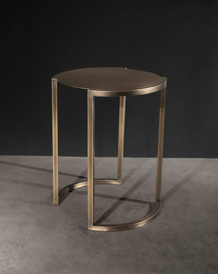 Bronzed Covet Brass Side Table by Soraya Osorio For Sale