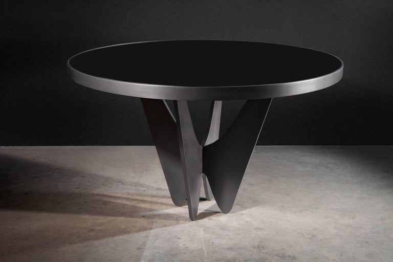 Modern Papillon Metal and Glass Round Dining Table by Soraya Osorio For Sale