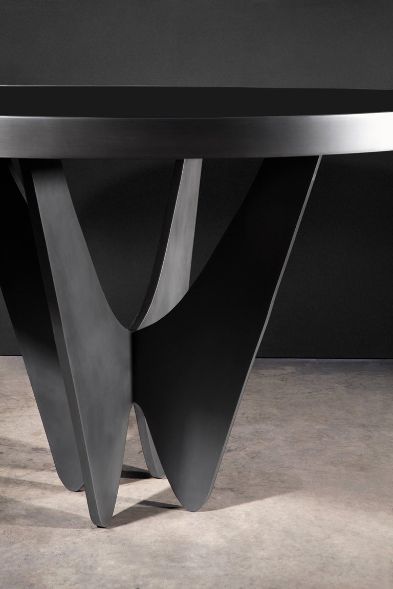 Tempered Papillon Metal and Glass Round Dining Table by Soraya Osorio For Sale