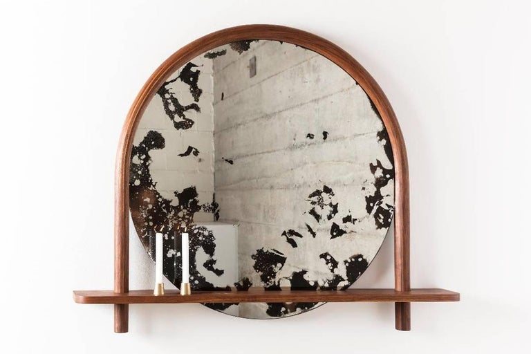 Canadian Oxbow Mirror by Hinterland Design in Bent Black Walnut and Hand Etched Mirror For Sale