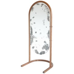 Cheval Floor Mirror in Bent American Black Walnut and Hand Antiqued Mirror