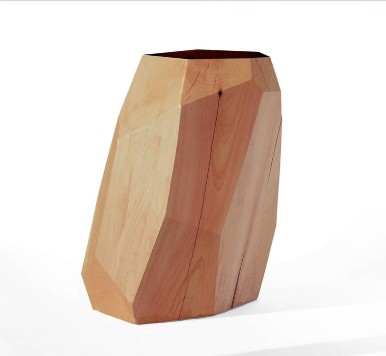 Contemporary Little Gem Stool/Side Table in Dyed Cedar with Carrara Marble Insert For Sale