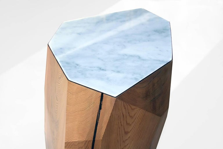 Metal Little Gem Stool/Side Table in Dyed Cedar with Carrara Marble Insert For Sale
