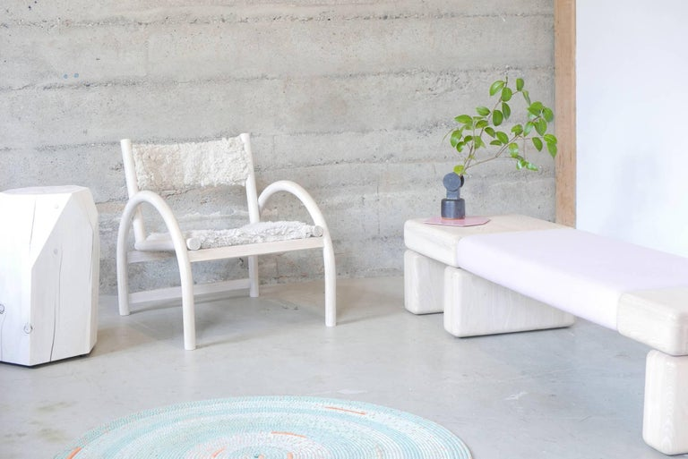 Lounge Chair in Whitewashed Canadian Ash and Sheepskin Seat and Back Rest For Sale 1