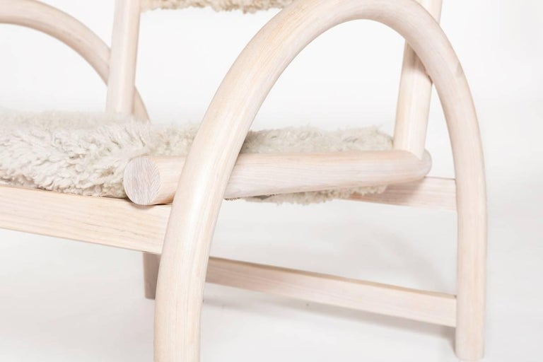 Shepherd's Chair by Hinterland Design in Solid Bent White Ash and Sheepskin 5