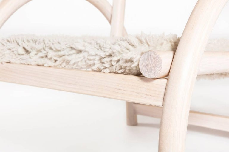 Shepherd's Chair by Hinterland Design in Solid Bent White Ash and Sheepskin 4