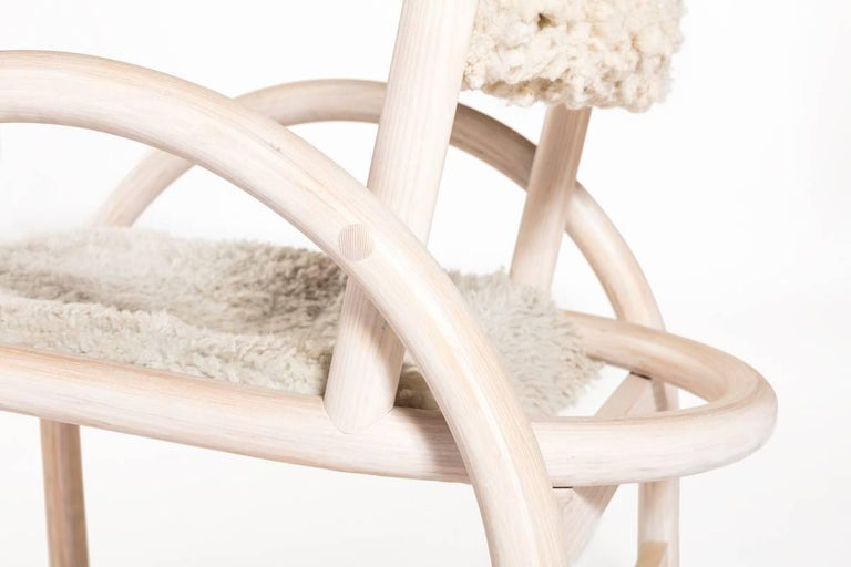 Shepherd's Chair by Hinterland Design in Solid Bent White Ash and Sheepskin 3