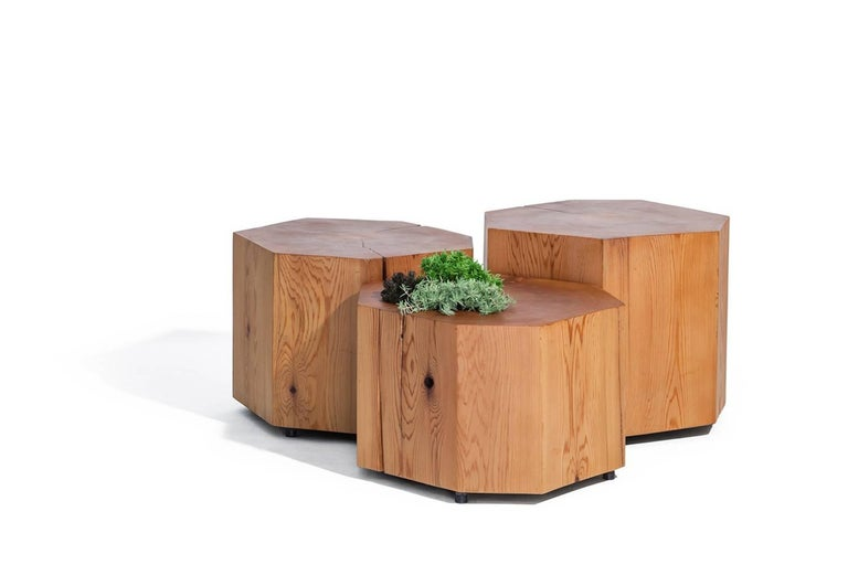 Hand-Crafted Nurselog Side Table / Planter in Western Red Cedar with Planter Insert For Sale