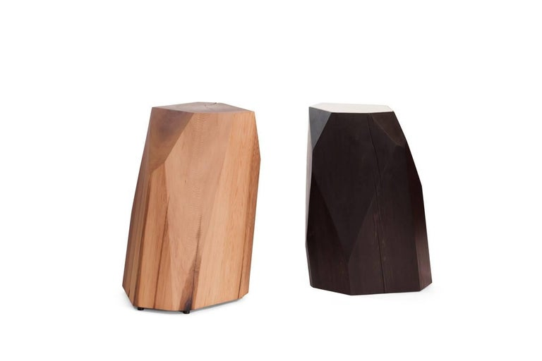 Little Gem Stool Side Table In Solid Red Cedar With Marble