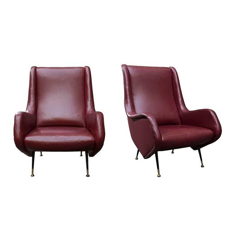 Pair of Armchairs by Aldo Morbelli for ISA Bergamo, 1950s