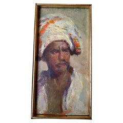 Orientalist Scool Painting Arab Man with Mustache and Turban