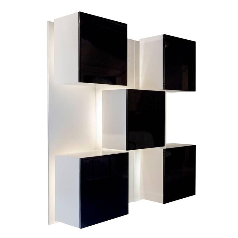 Mid-Century Modern Backlit Bookcase Designed by Roberto Monsani for Acerbis For Sale