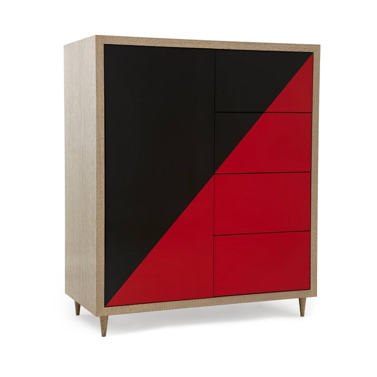 American Duplex Dresser in Black & Red lacquer  For Sale
