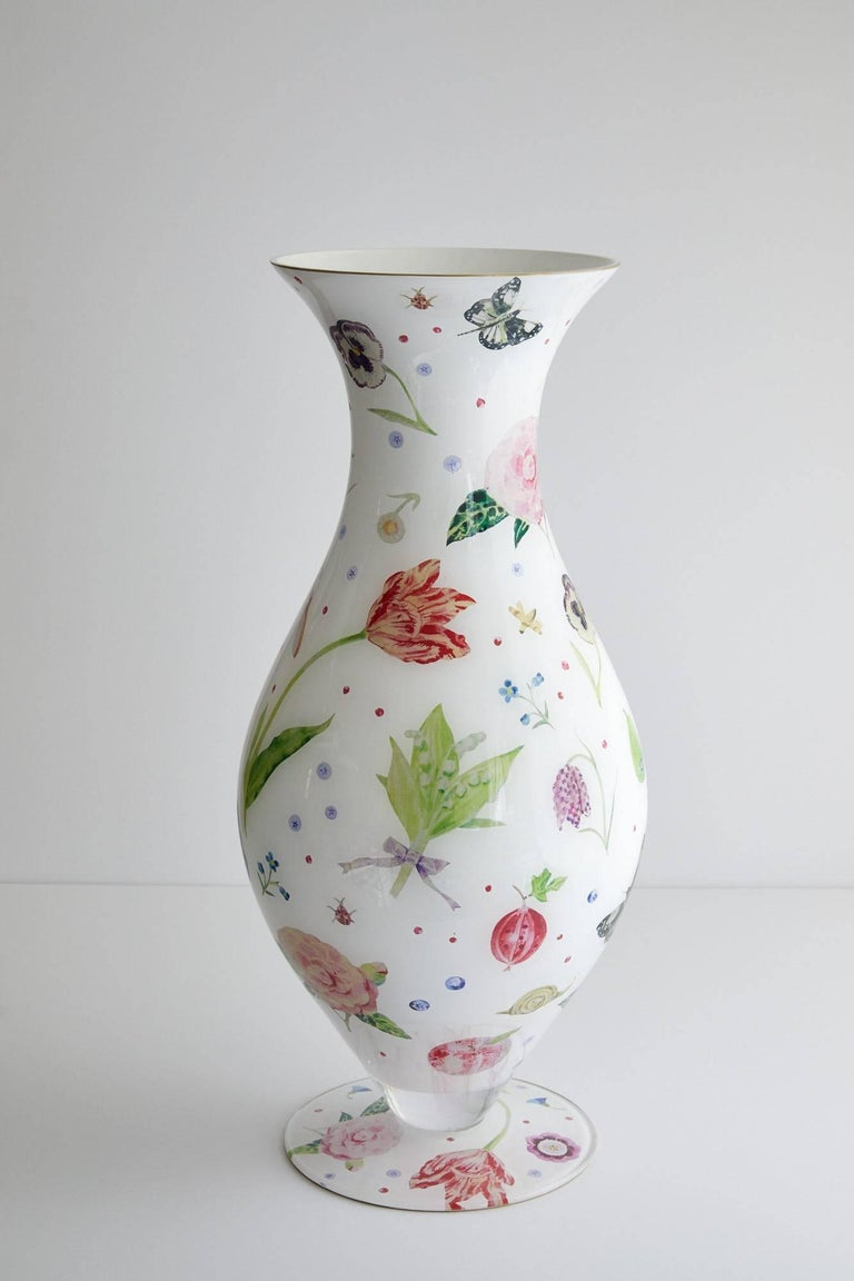 Handmade decoupage Parisian vase, designed by Cathy Graham crafted by Scott Potter.