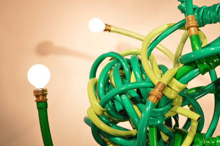 Green Garden Hose Chandelier Style Lighting Fixture In Excellent Condition For Sale In Brooklyn, NY
