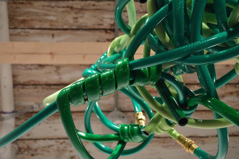 Green Garden Hose Chandelier Style Lighting Fixture For Sale 2