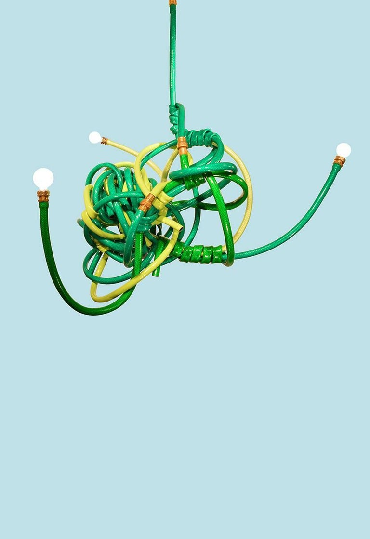 American Green Garden Hose Chandelier Style Lighting Fixture For Sale