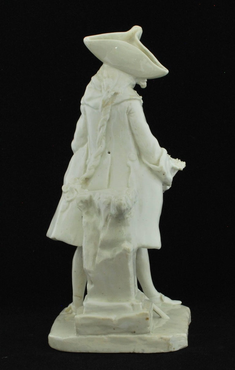 English Henry Woodward Figure. Bow Porcelain C1749 For Sale